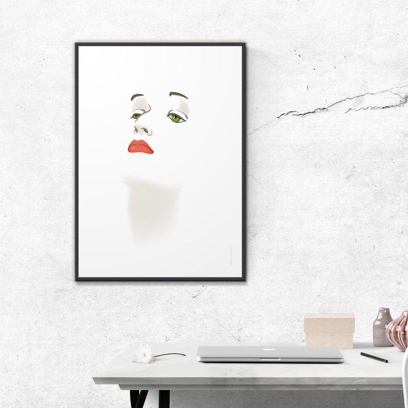 cadre visage femme fond blanc