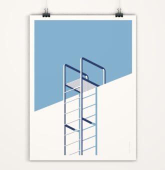 affiche échelle minimaliste tons bleus