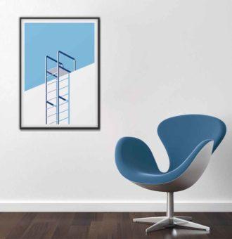 intérieur design affiche échelle minimaliste tons bleux
