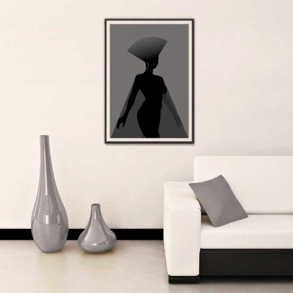 affiche minimaliste ultima regina tons gris