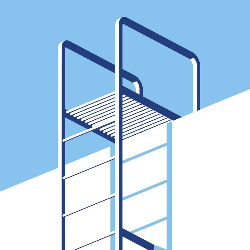 zoom affiche échelle minimaliste tons bleus