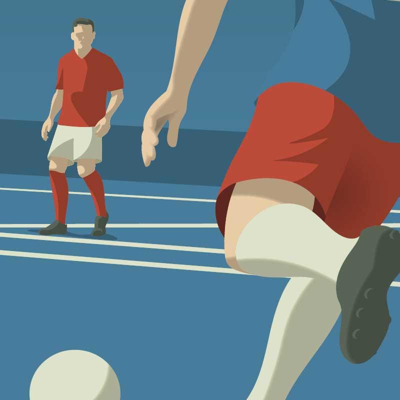 Gros plan sur l'illustration de sport l'affiche déco Minimal-Art sur le thème du football - teinte bleu.