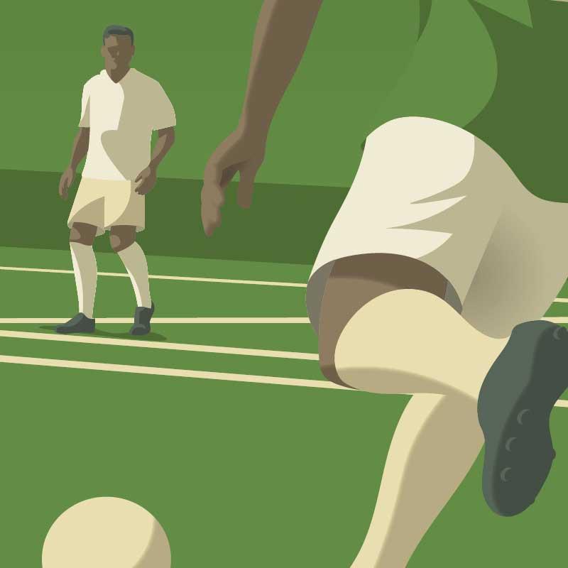 Gros plan sur l'illustration de sport l'affiche déco Minimal-Art sur le thème du football - teinte verte.