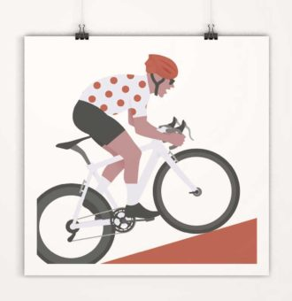 Affiches minimalistes déco cyclisme tour de france - maillot blanc à poids
